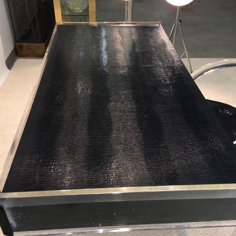 Wycombe Meyer 1970s Lucite and Black Lizard Writing Table and Chair For Sale 1