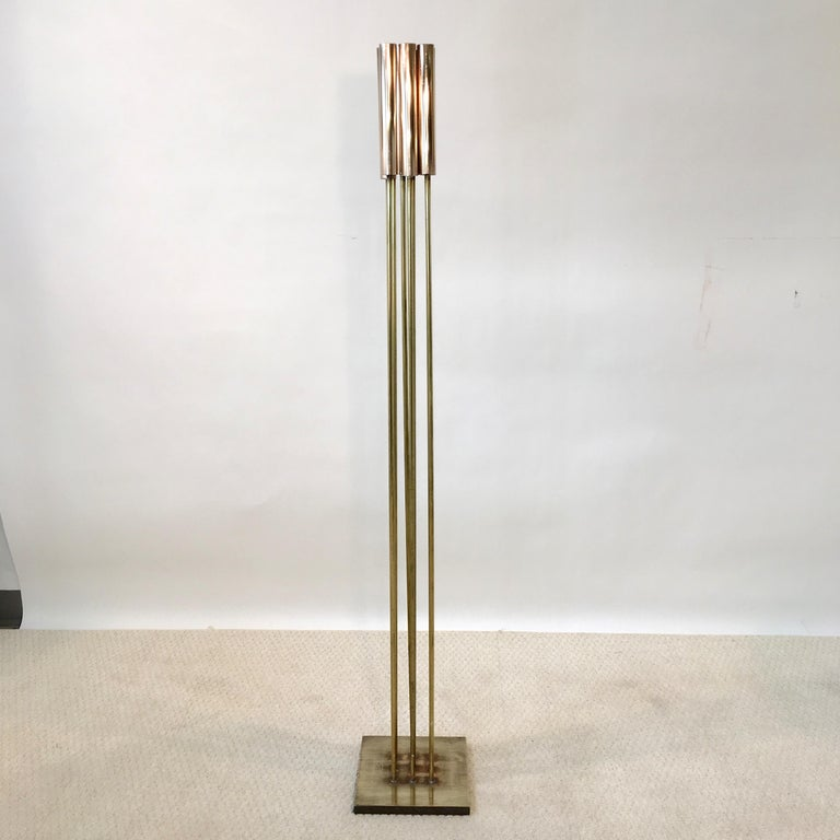 Mid-Century Modern Contemporary 9-Rod Brass Kinetic Sculpture For Sale