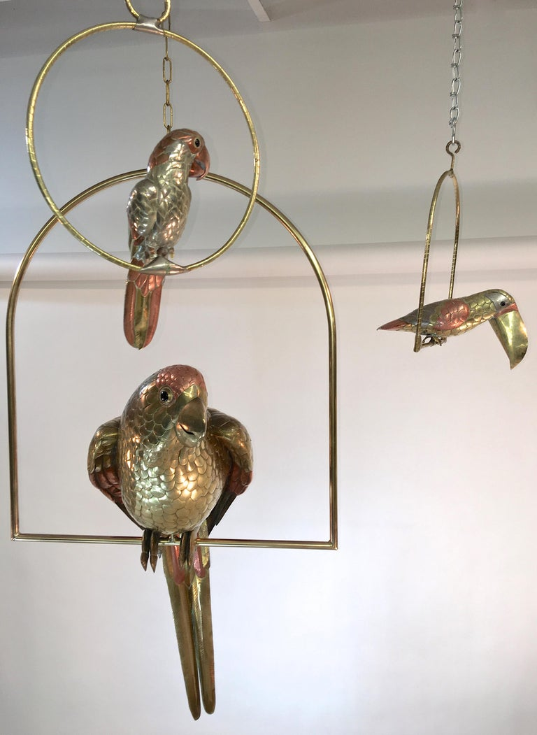 Mid-Century Modern Sergio Bustamante Brass and Copper Tropical Birds on Swinging Perch For Sale