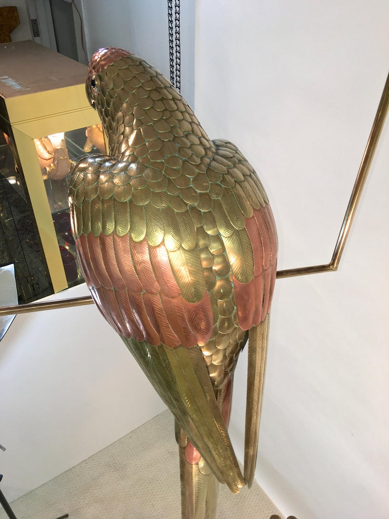 Sergio Bustamante Brass and Copper Tropical Birds on Swinging Perch For Sale 4