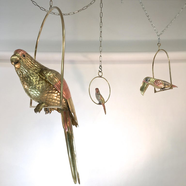 Sergio Bustamante Brass and Copper Tropical Birds on Swinging Perch For Sale 8