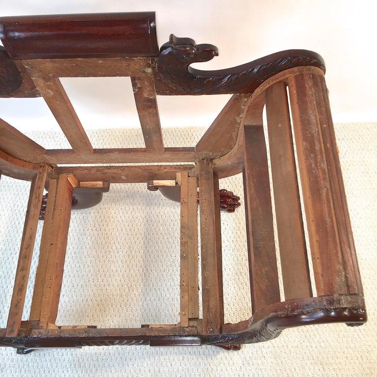 Mid-19th Century American Empire Mahogany Armchair For Sale