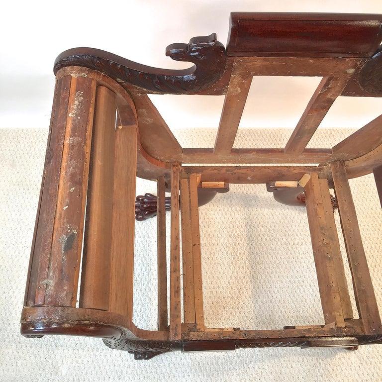 American Empire Mahogany Armchair For Sale 1