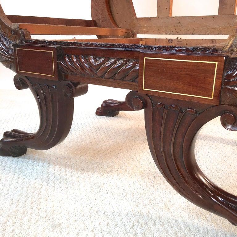 American Empire Mahogany Armchair For Sale 7