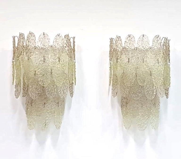 Italian Gino Vistosi Torcello Murano Glass Disk Sconces For Sale
