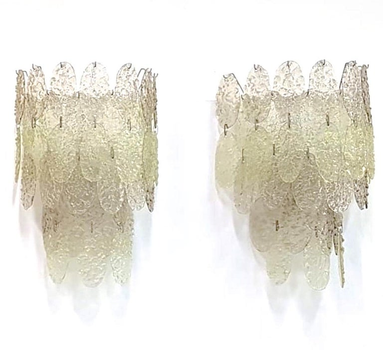 Gino Vistosi Torcello Murano Glass Disk Sconces In Good Condition For Sale In Hingham, MA