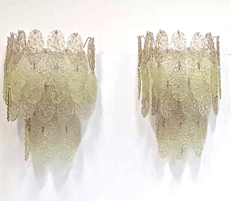 Mid-20th Century Gino Vistosi Torcello Murano Glass Disk Sconces For Sale