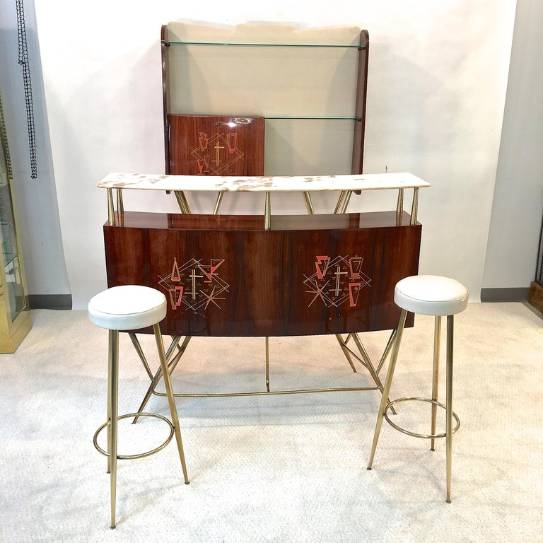 1950s Italian Bar, Back Bar and Pair of Brass Tripod Stools In Good Condition For Sale In Hingham, MA