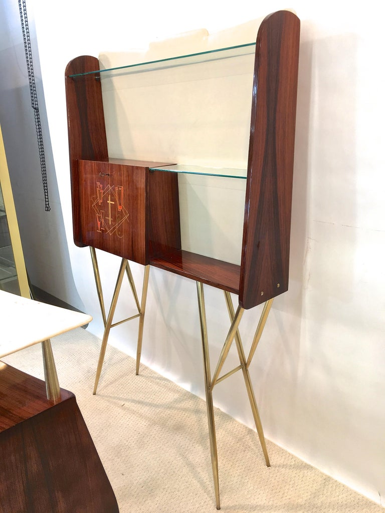 Mid-20th Century 1950s Italian Bar, Back Bar and Pair of Brass Tripod Stools For Sale