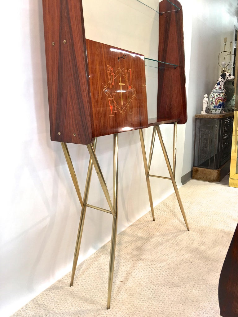 1950s Italian Bar, Back Bar and Pair of Brass Tripod Stools For Sale 2