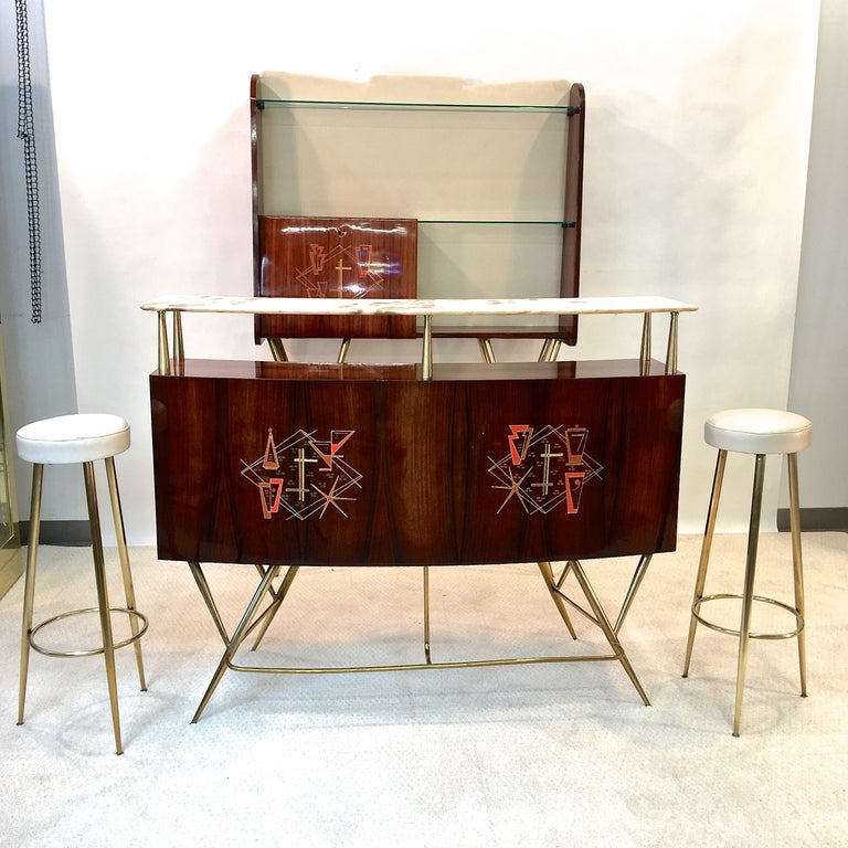 1950s Italian Bar, Back Bar and Pair of Brass Tripod Stools For Sale 5