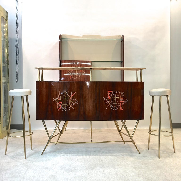1950s Italian Bar, Back Bar and Pair of Brass Tripod Stools For Sale 8