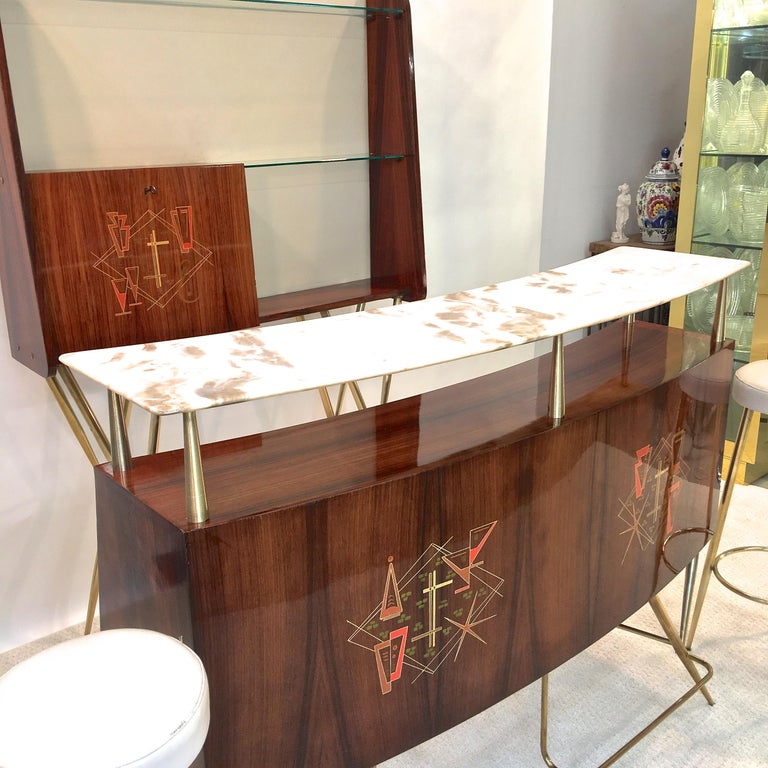 1950s Italian Bar, Back Bar and Pair of Brass Tripod Stools For Sale 9