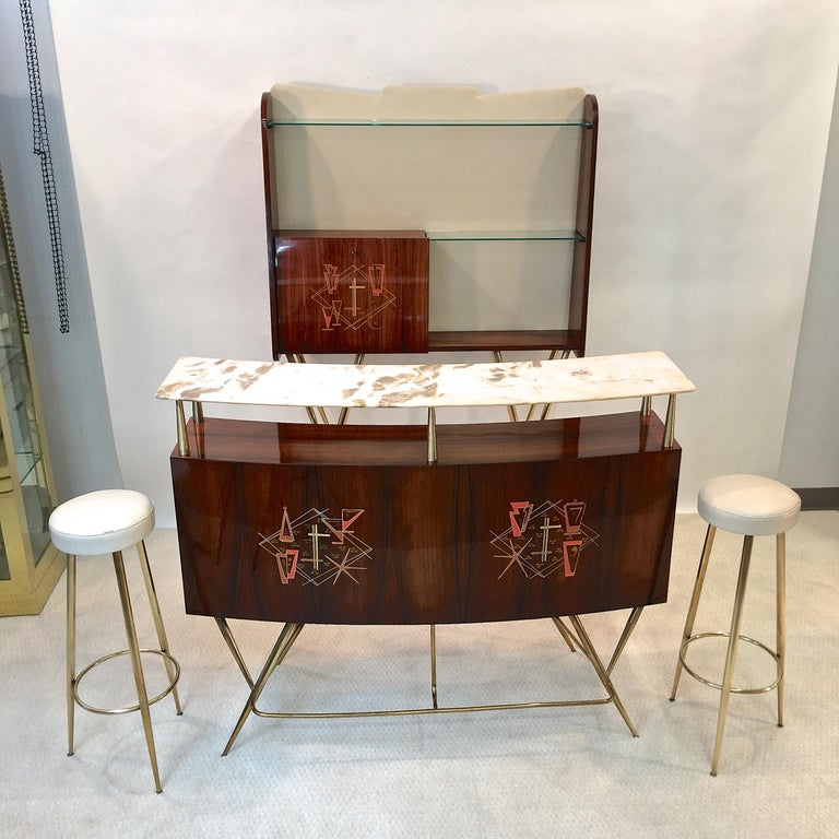 1950s Italian Bar, Back Bar and Pair of Brass Tripod Stools For Sale 10
