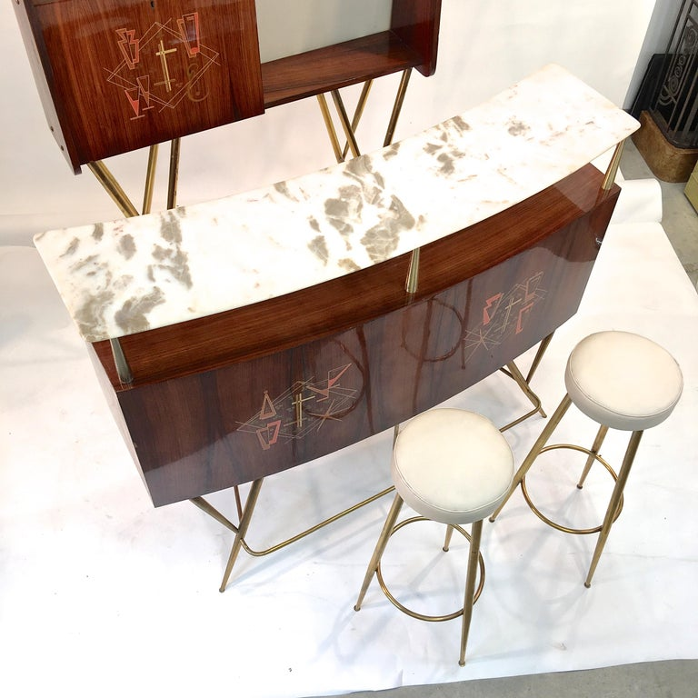 1950s Italian Bar, Back Bar and Pair of Brass Tripod Stools For Sale 11