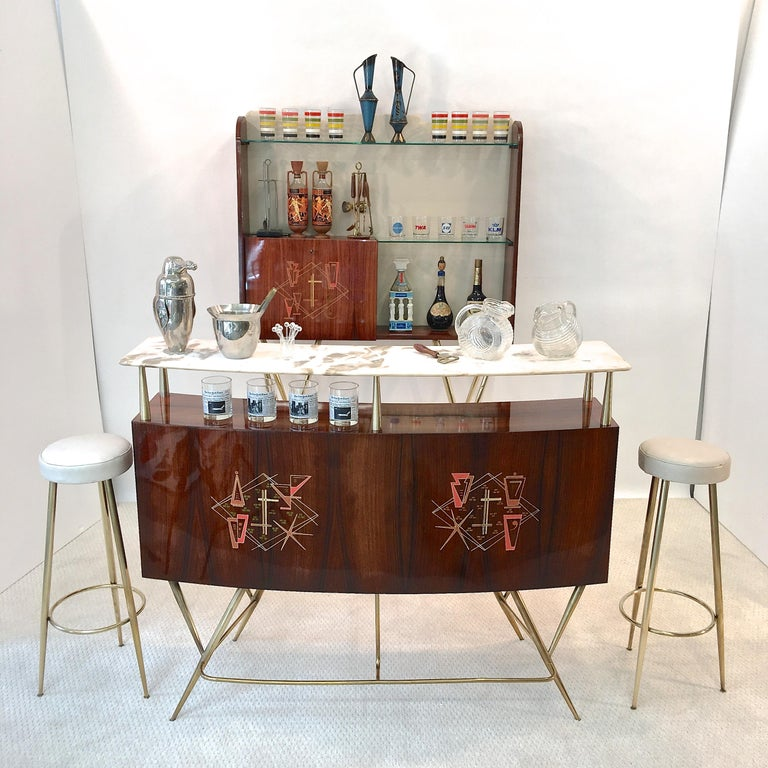 Mid-Century Modern 1950s Italian Bar, Back Bar and Pair of Brass Tripod Stools For Sale