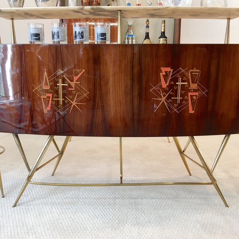 1950s Italian Bar, Back Bar and Pair of Brass Tripod Stools For Sale 14