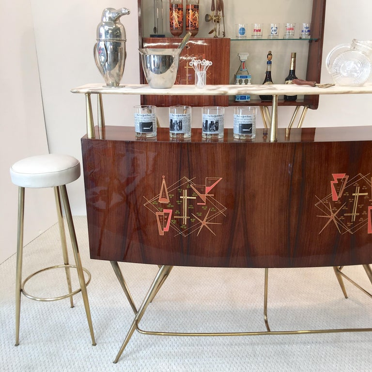 1950s Italian Bar, Back Bar and Pair of Brass Tripod Stools For Sale 15