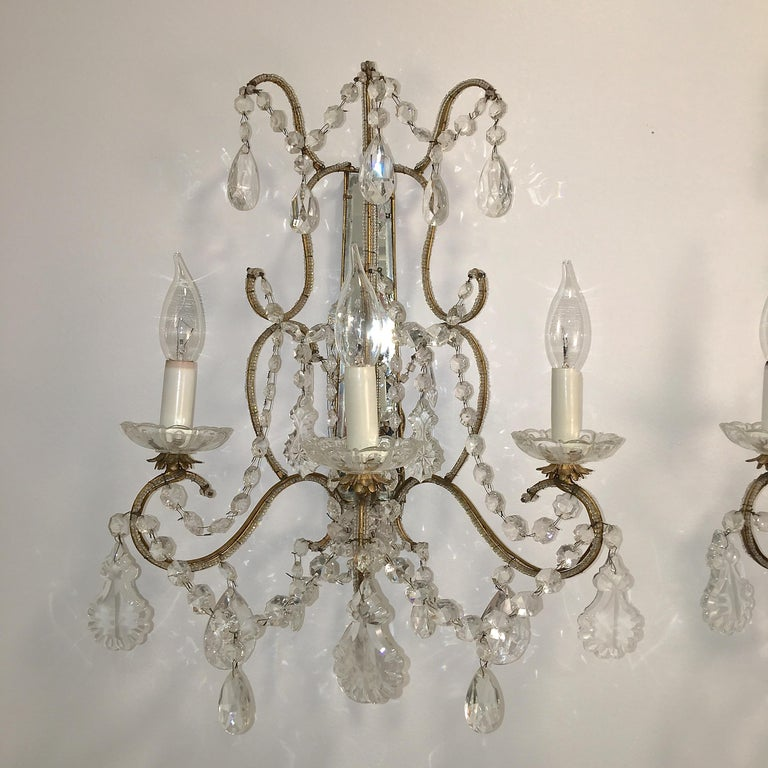 Rococo Revival Pair of Florentine Beaded Gilt Metal and Crystal Sconces For Sale