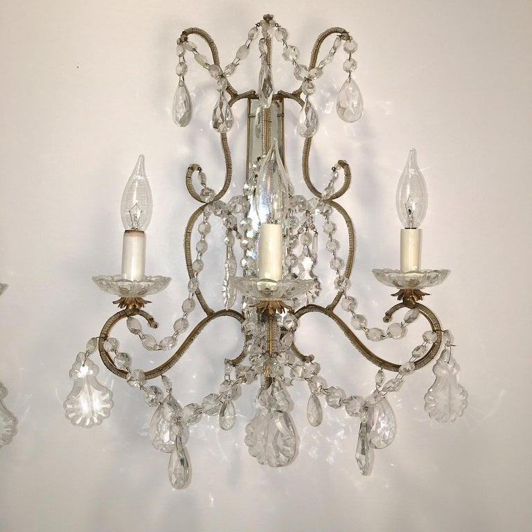 Italian Pair of Florentine Beaded Gilt Metal and Crystal Sconces For Sale