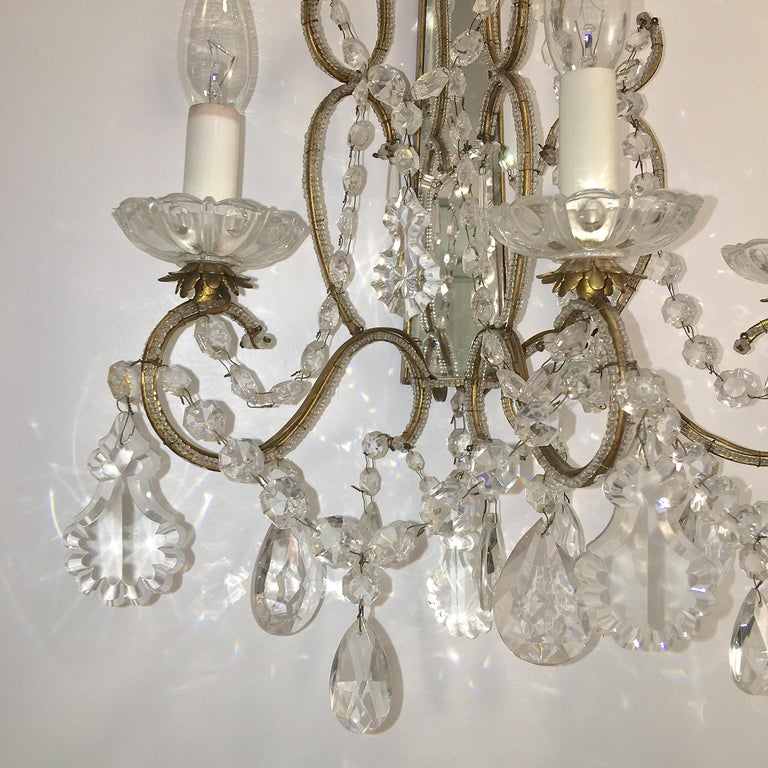 Mid-20th Century Pair of Florentine Beaded Gilt Metal and Crystal Sconces For Sale