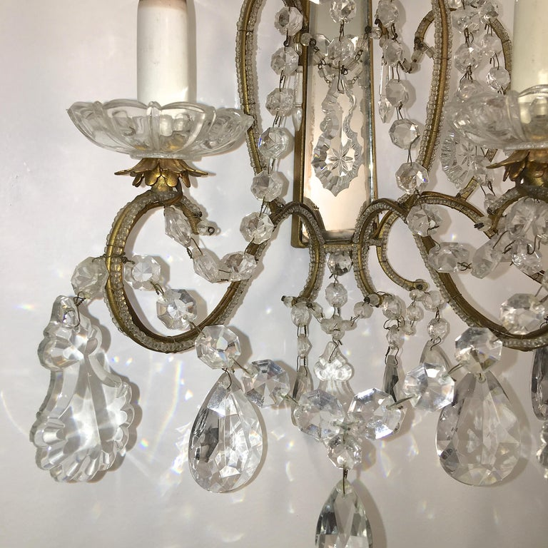 Pair of Florentine Beaded Gilt Metal and Crystal Sconces For Sale 1