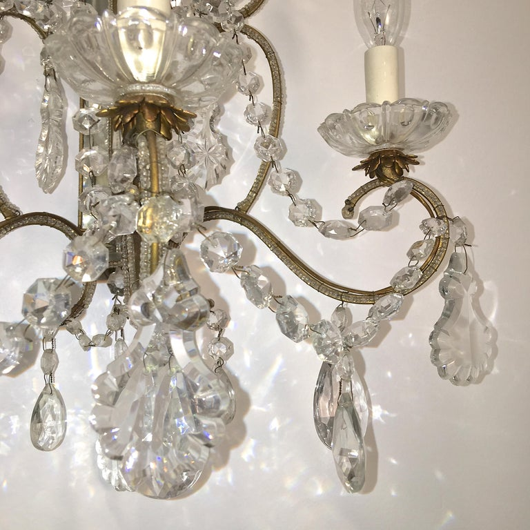 Pair of Florentine Beaded Gilt Metal and Crystal Sconces For Sale 2