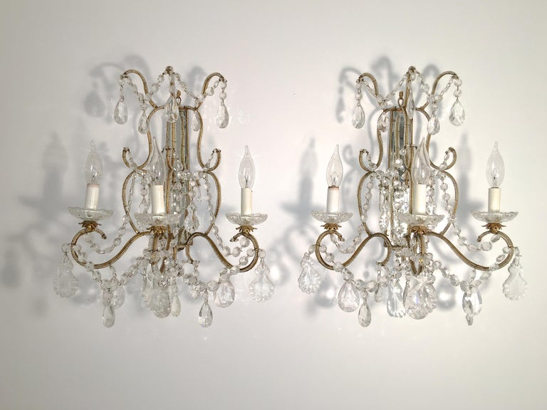 Pair of Florentine Beaded Gilt Metal and Crystal Sconces For Sale 4