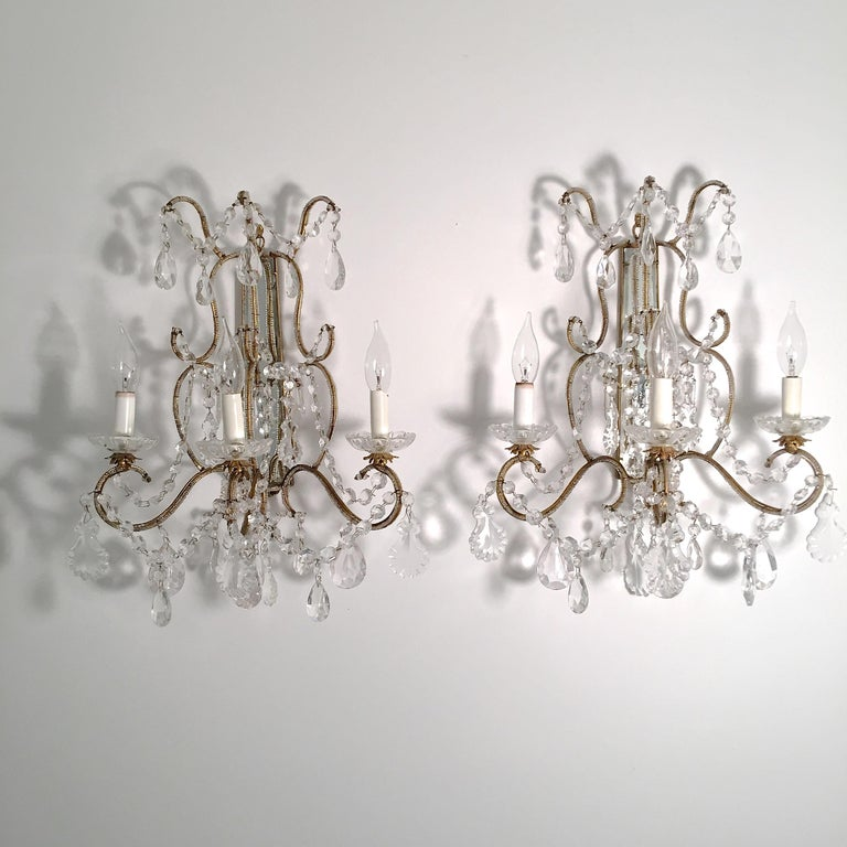 Pair of Florentine Beaded Gilt Metal and Crystal Sconces For Sale 5