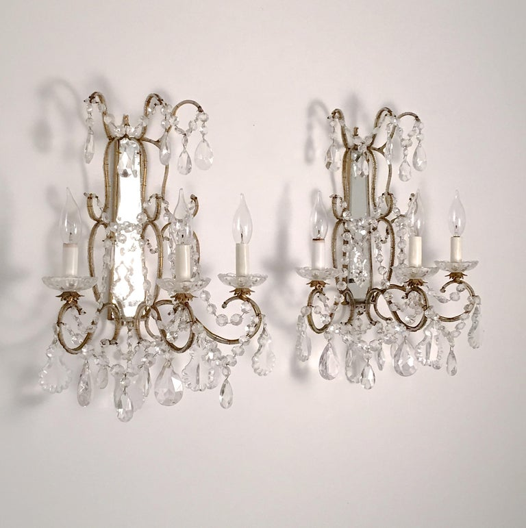 Pair of Florentine Beaded Gilt Metal and Crystal Sconces For Sale 6