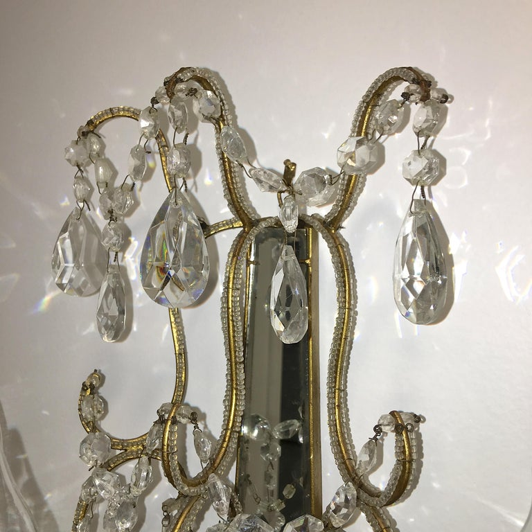 Pair of Florentine Beaded Gilt Metal and Crystal Sconces For Sale 7