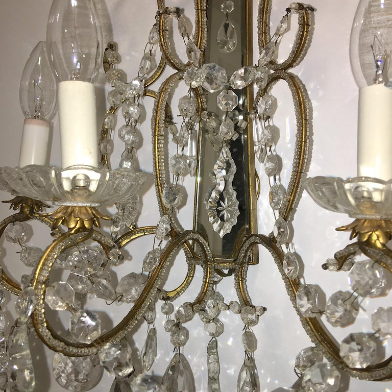 Pair of Florentine Beaded Gilt Metal and Crystal Sconces For Sale 8