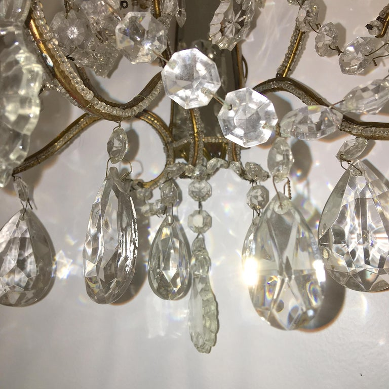 Pair of Florentine Beaded Gilt Metal and Crystal Sconces For Sale 9