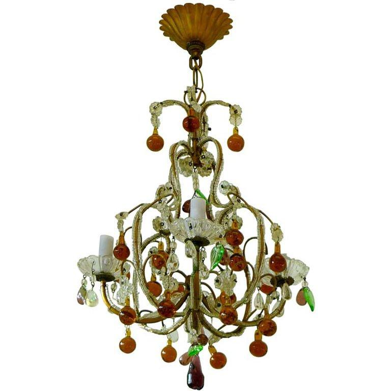 Pair of Florentine Beaded Gilt Metal and Crystal Sconces For Sale 12