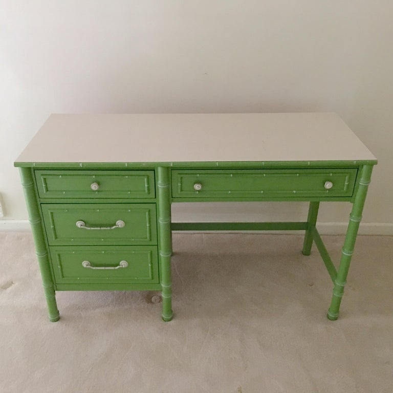 American Hollywood Regency Faux Bamboo Green and White Desk by Thomasville For Sale