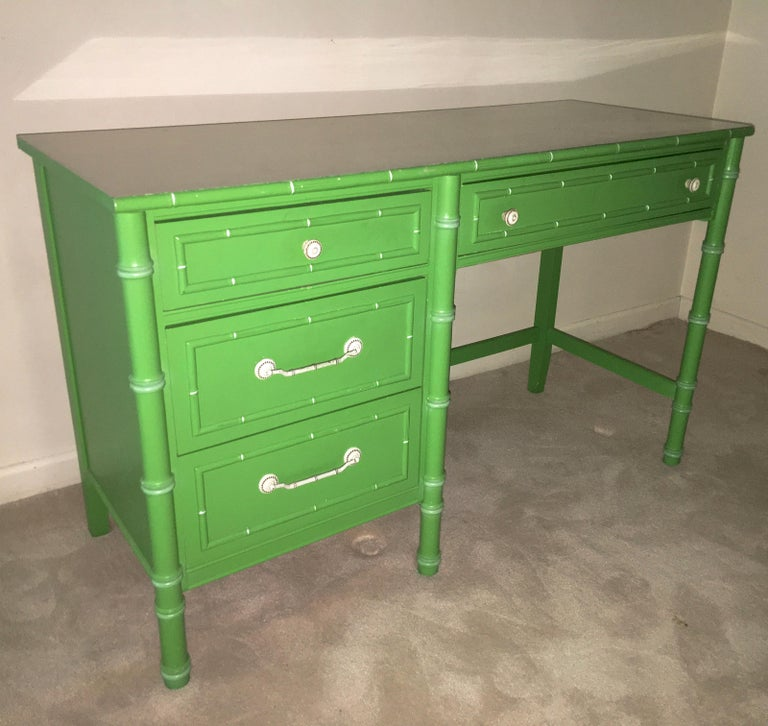 Hollywood Regency Faux Bamboo Green and White Desk by Thomasville In Good Condition For Sale In Hingham, MA