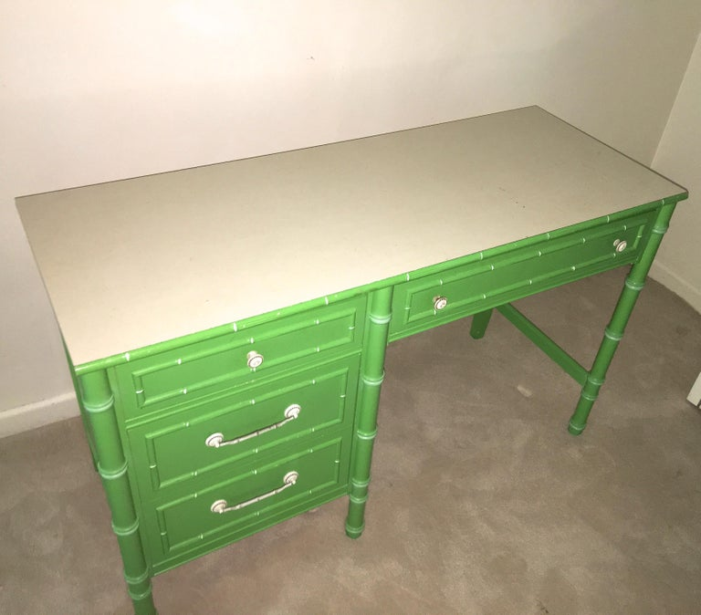 Mid-20th Century Hollywood Regency Faux Bamboo Green and White Desk by Thomasville For Sale