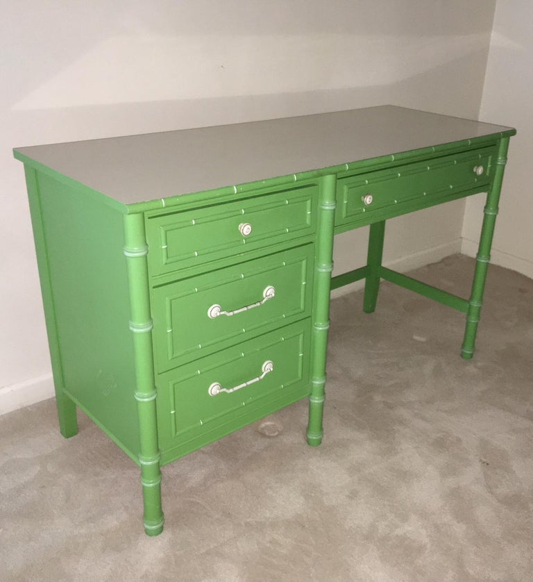 Hollywood Regency Faux Bamboo Green and White Desk by Thomasville For Sale 1