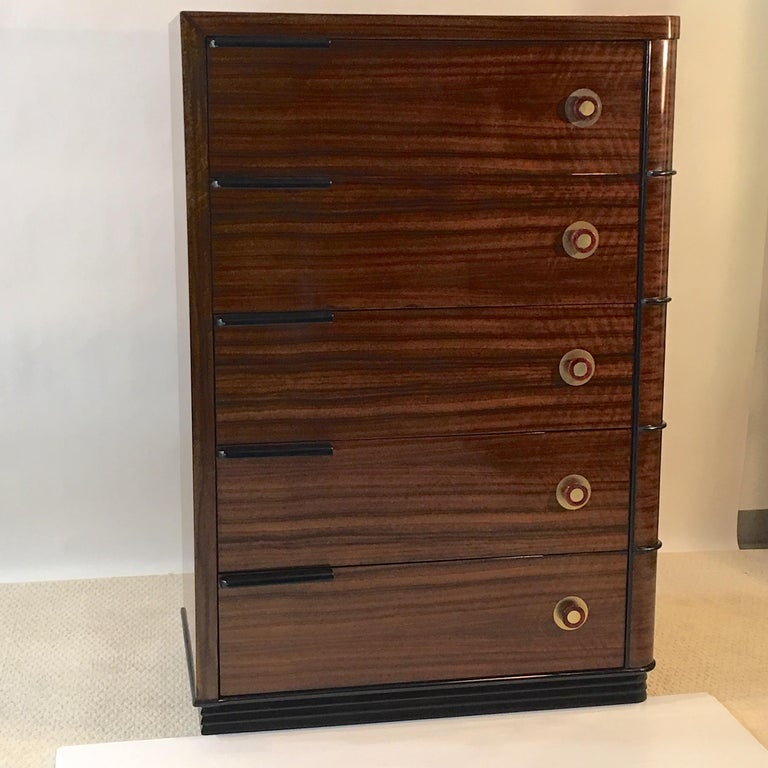 Streamline Art Deco Tall Chest of Drawers For Sale 7