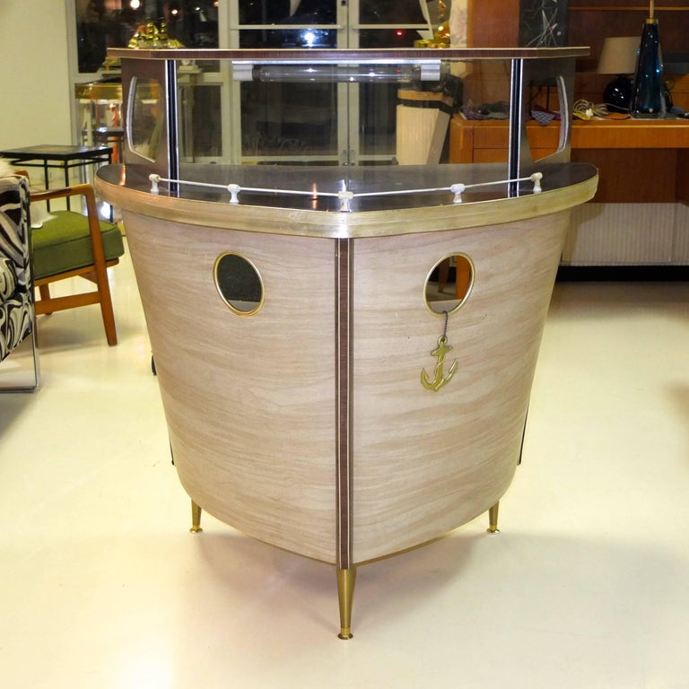 Mid-Century Modern Umberto Mascagni Boat Form Cocktail Bar For Sale