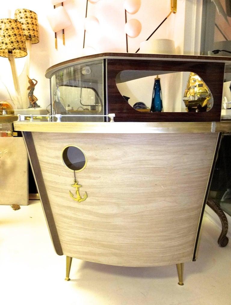 Umberto Mascagni Boat Form Cocktail Bar For Sale 2