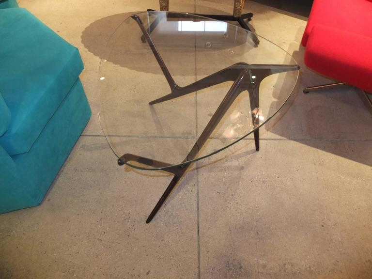 Mid-20th Century 1950s Italian Occasional Table in the Style of Carlo Mollino For Sale