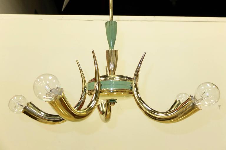 1950s Italian Brass Cornucopia Chandelier For Sale 3