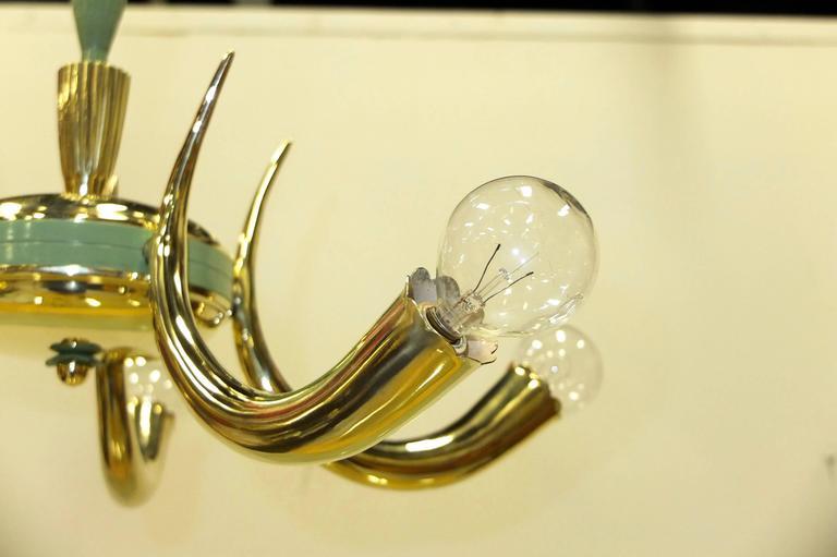 1950s Italian Brass Cornucopia Chandelier For Sale 4