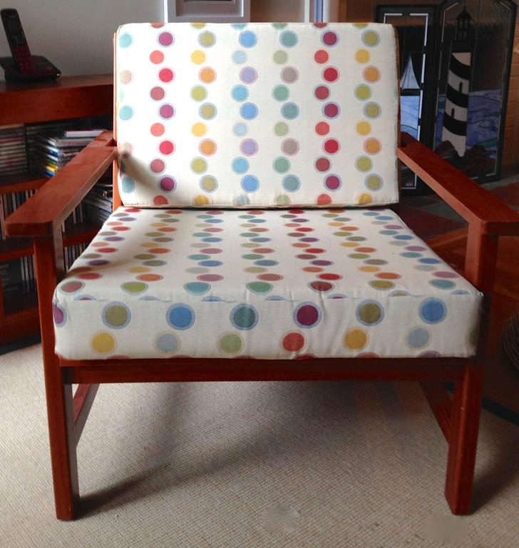Charles Webb Pair of Cherry Lounge Chairs and Ottoman For Sale 1
