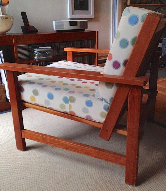 Charles Webb Pair of Cherry Lounge Chairs and Ottoman For Sale 2