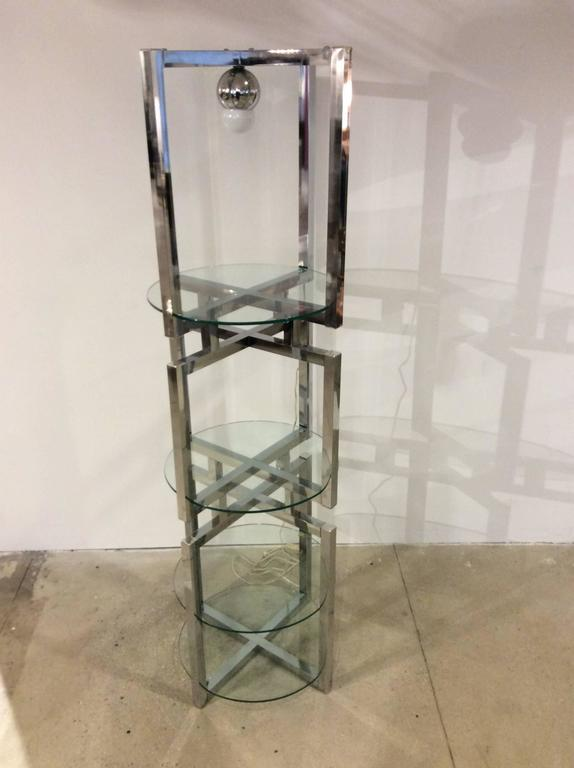 American Geometric Chrome Tower Etagere in the style of Milo Baughman For Sale