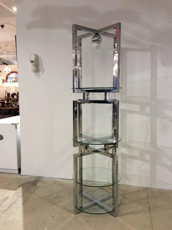 Geometric Chrome Tower Etagere by Milo Baughman For Sale 3