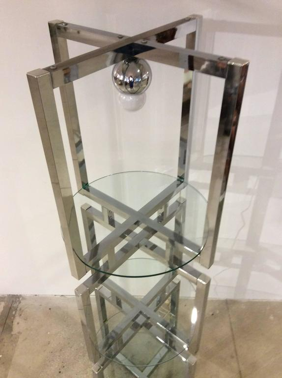 Late 20th Century Geometric Chrome Tower Etagere in the style of Milo Baughman For Sale