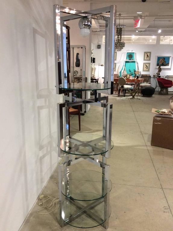 Geometric Chrome Tower Etagere by Milo Baughman For Sale 2